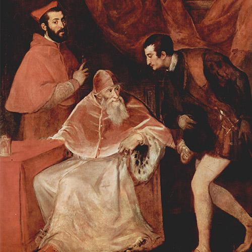 Tiziano Paolo III e i suoi nipoti Museo di capodimonte Napoli